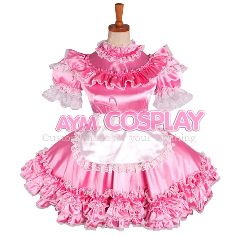 Custom Made Sissy Maid Light Pink Dress lockable Satin dress Outfit Fancy Cosplay Costume(China (Mainland))