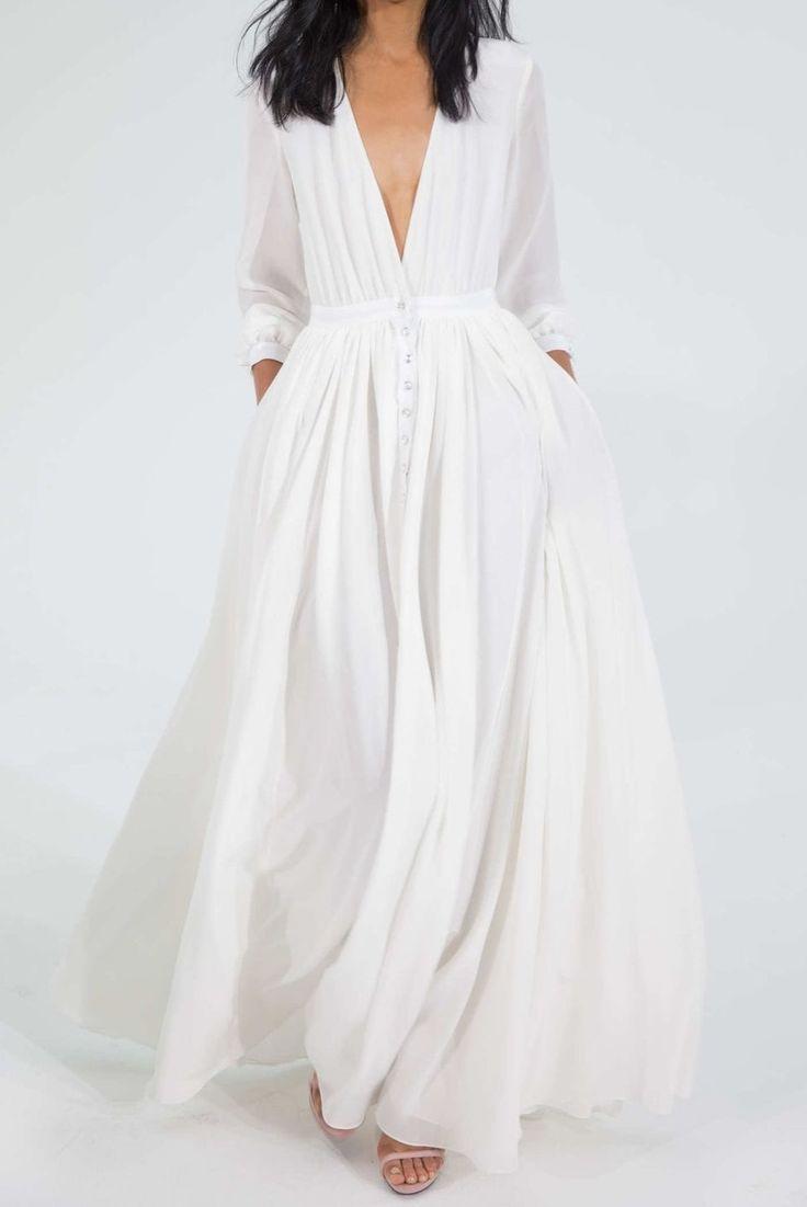 2015 New summer dress Chiffon Empire Full Straight Solid ...
