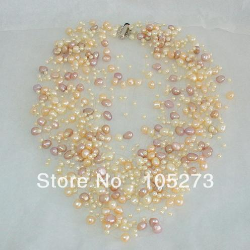 Charming Natural Pearl Jewelry Freshwater Pearl Necklace 27 Multi Strands On Wire Magnificent Colors 3-8mm New Free Shipping<br><br>Aliexpress