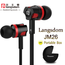 Langsdom JM26 Microphone Earphone Noodles Wired Control In-ear Headphone with Double Color Housing for Mobile Phone, Computer