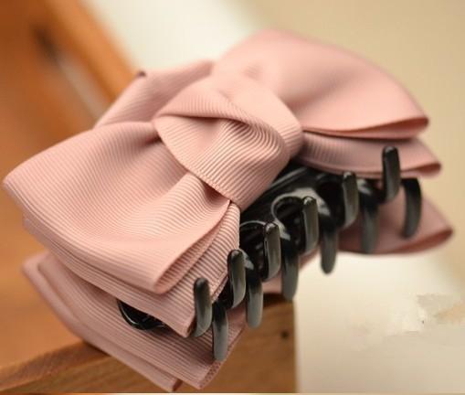 Ribbon Bow Barrette Boutique Handmade Solid Hairpins Beautiful Girls And Women Korea Headwear Beautiful Ribbon Bow Barrette(China (Mainland))