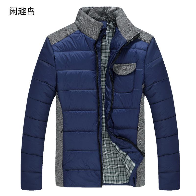 New Men's Winter Zipper Cotton Coat Splice Padded Jacket Autumn Winter Outwear Men's Casual Coat(China (Mainland))