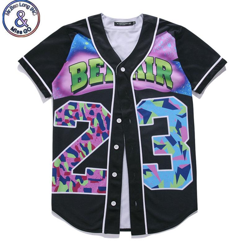Mr.BaoLong Mens Buttons Homme 3D Shirt Streetwear Tees Shirts Hip Hop Bel Air 23 Custom Made Baseball Jersey T Shirt(China (Mainland))