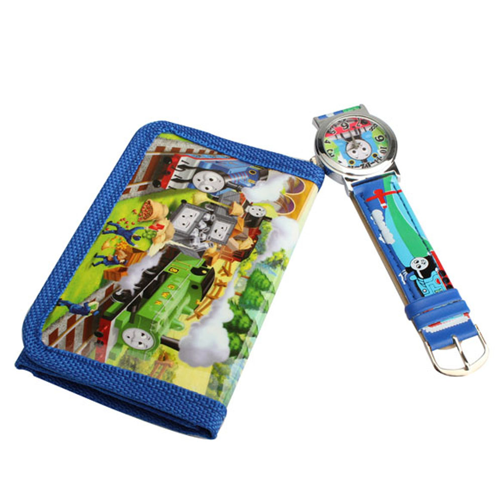 2 In 1 Cartoon Watch With Purse Thomas & Friends Quartz Watch Lovely Purse For Kids BS88(China (Mainland))