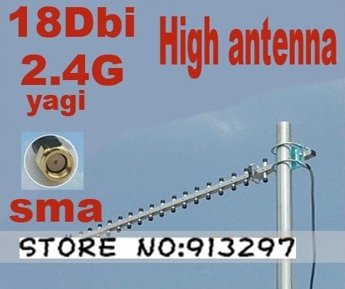 Direct Marketing Wifi 3G Yagi Outdoor 2400MHz Directional High Gain Antenna 18dbi Connector-RP-SMA Free shipping(China (Mainland))