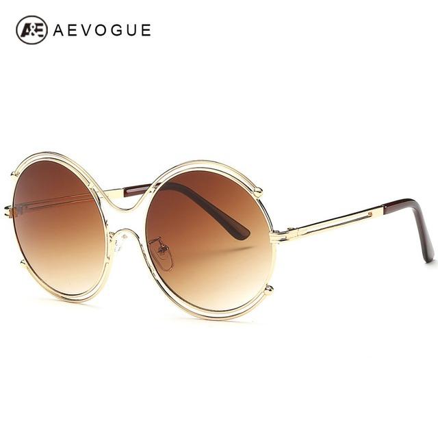 Aevogue круглые сплав 8-Shaped очки рамки женщин летний стиль дизайн бренда солнцезащитные очки óculos De Sol Feminino UV400 AE0282