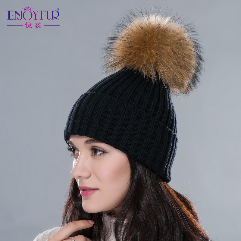 ENJOYFUR Women hat with raccoon silver fur pom poms hats unisex multicolors flexible outdoor snow caps Autumn Winter fashion hat(China (Mainland))