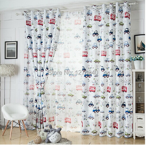 Finished textile1 piece car style Cartoon Curtain for kids green blackout Curtains living room panel window shade boys baby room(China (Mainland))
