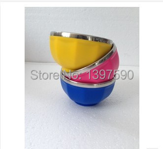 High quality stainless steel bowl Candy colors lunch box for children(China (Mainland))
