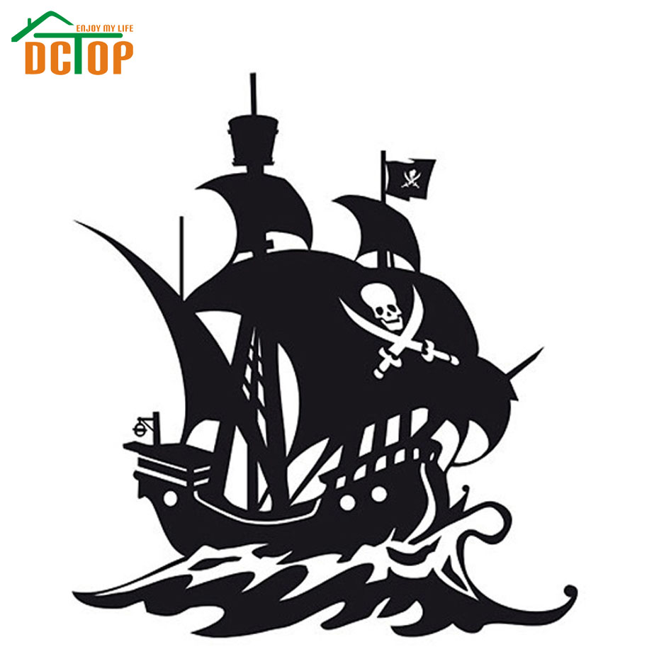 DCTOP High Quality Hollow Out Pirate Ship Wall Sticker Children Bedroom Wall Decor Removable Vinyl Decals(China (Mainland))