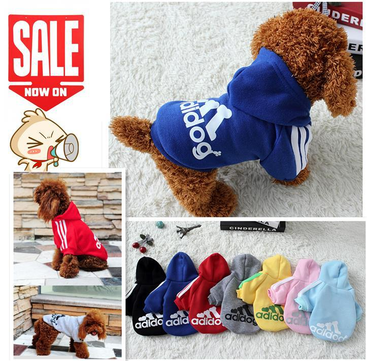 Dog Clothes Pets Coats Soft Cotton Puppy Dog Clothes Adidog Clothes For Dog New 2015 Autumn Pet Products 7 colors XS-4XL(China (Mainland))