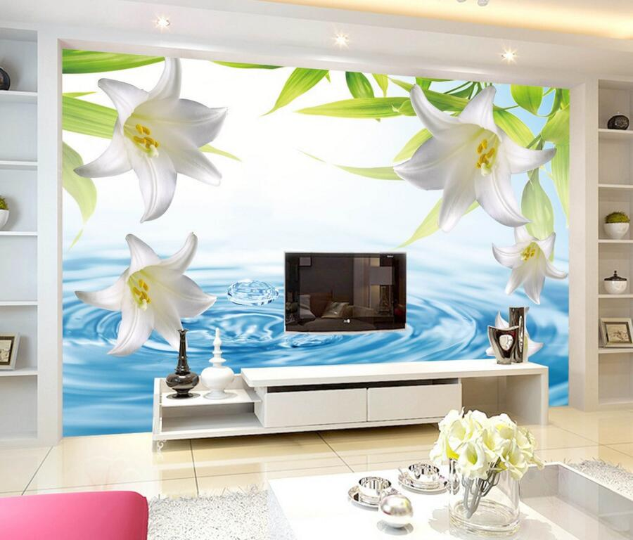 Custom 3d murals fresh and simple water lily papel de for Mural 3d simple