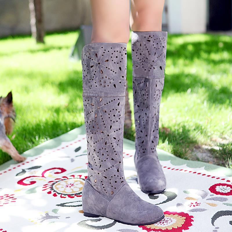 hot sale cheap 2013 cutout spring and summer cool high-leg boots net cow muscle outsole knitted boots plus size4-12/35-43 A137<br><br>Aliexpress