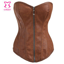 Brown Leather Corset Overbust Steampunk Corsets Zipper Waist Trainer Korsett For Women Espartilhos E Corpetes Gothic Clothing