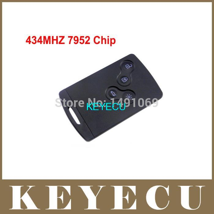High Quality Remote Key Fob 4 Button 433MHz With Chip PCF7952 for Renault Koleos +Uncut Blank Blade