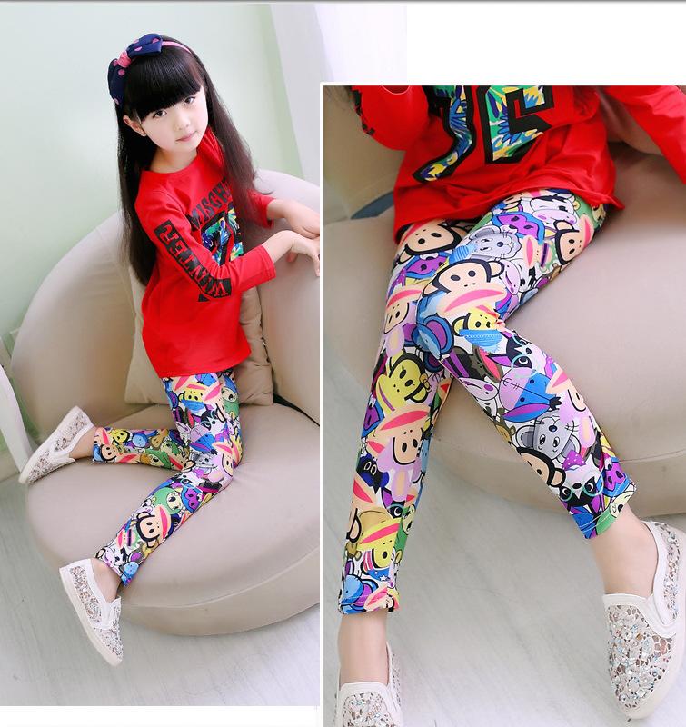 Free Shipping Retail 3-7Years Girls Cartoon Monkey Soft Leggings Kids Newest Flower Print Pants Baby Summer Style Clothing(China (Mainland))