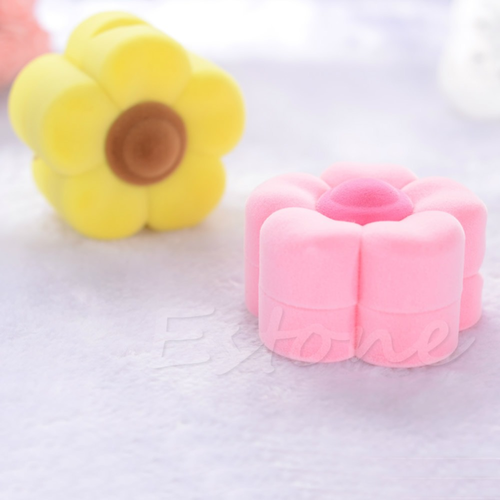Cute Flower Shape Yellow Pink Velvet Jewelry Gift Box Necklace Earring Ring Case(China (Mainland))