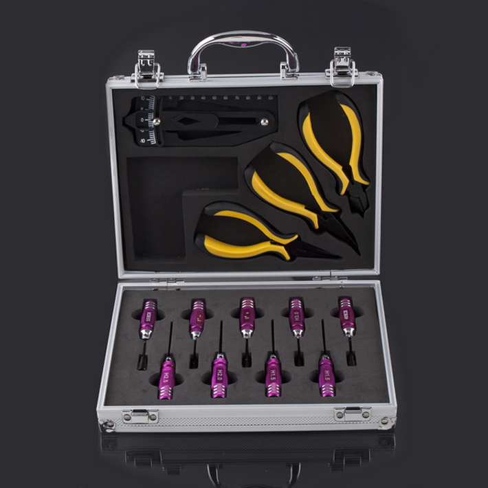 Free Shipping+ 1 in 13 pcs Combo Metal Tool Kit Box for Helicopter,Airplane and other RCmodels(Hong Kong)