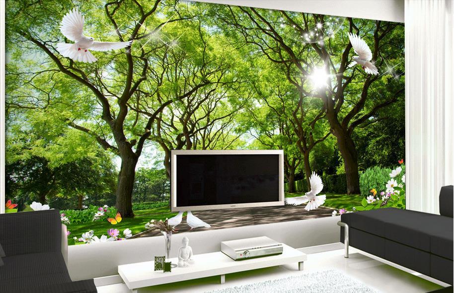 Behang Woonkamer Groen: Bos behang slaapkamer hoge kwaliteit ...