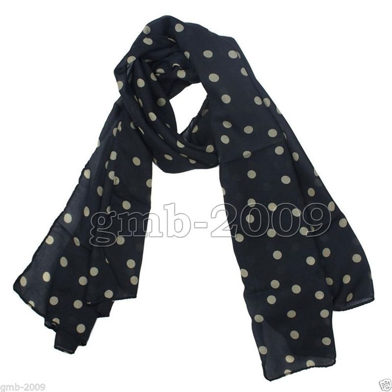New Fashion Women's Black White Polka Dot Chiffon Long Soft Silk Stole Scarf(China (Mainland))