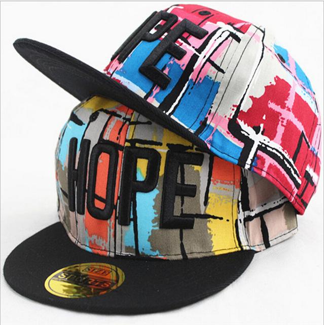 Дети письмо надежда Snapback бейсболка хип-хоп танцы би-бой Kpop тенденция спорт козырек шляпа регулируется по ребенку