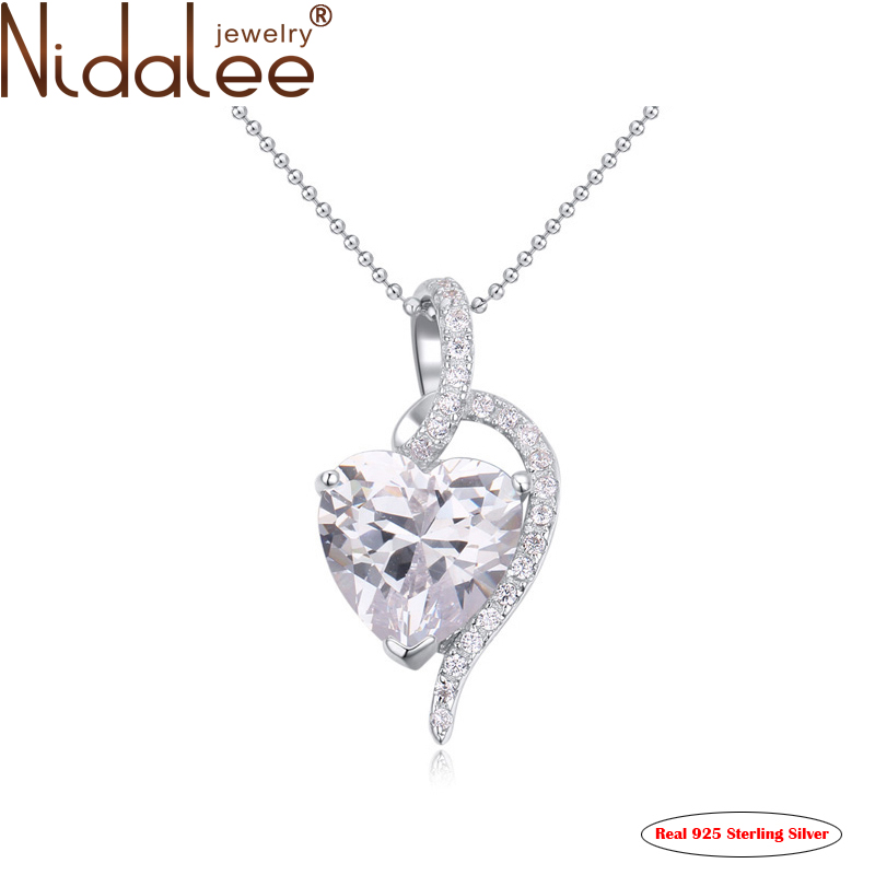 2016 Heart Pendant 925 sterling silver Gold Plated Top Zircon Necklaces & Pendants Women Fashion Jewelry Accessories CN1703(China (Mainland))