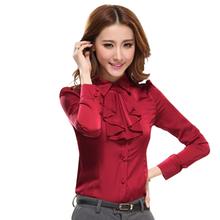2015 winter fashion basic shirt plus size women's clothing long-sleeve ruffles blouses blusas chiffon silk vestidos(China (Mainland))