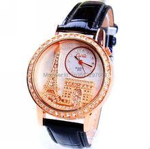 New fashion luxury brand Exquisite Women Watch Gogoey Emboss Eiffel Tower Rhinestone dress quartz leather strap
