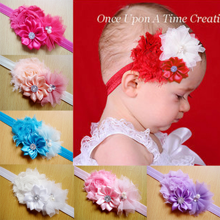 2015 Rose Pearl Lace Flower Photography Props Headwear Infant Children Baby Gair Headband children Hair Accessories(China (Mainland))