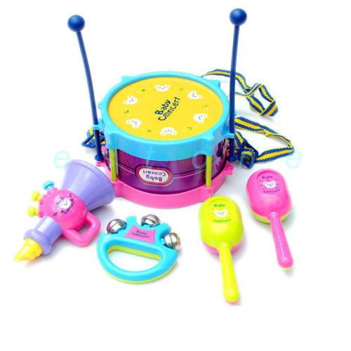 5pcs/set Roll Drum Musical Instruments Band Kit Kids Children Toy Gift Set New(China (Mainland))