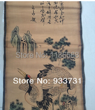 """Chinese Ancient picture paper Crane Scroll painting """"Crane""""120CM(China (Mainland))"""