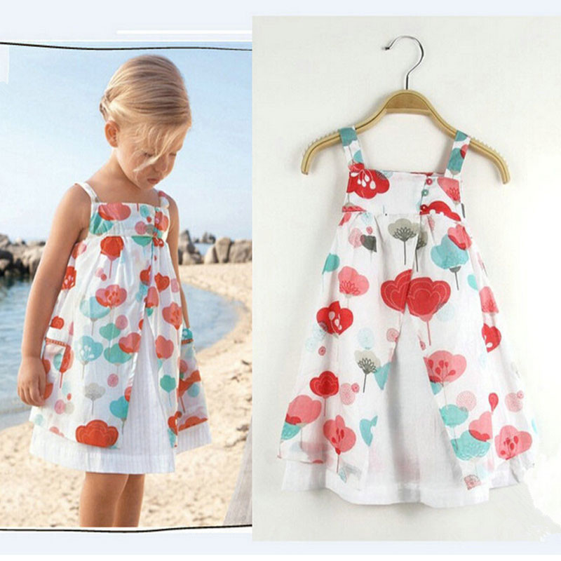 retail high quality 2015 summer new design children clothing dress for baby girl print flower A-line dress(China (Mainland))