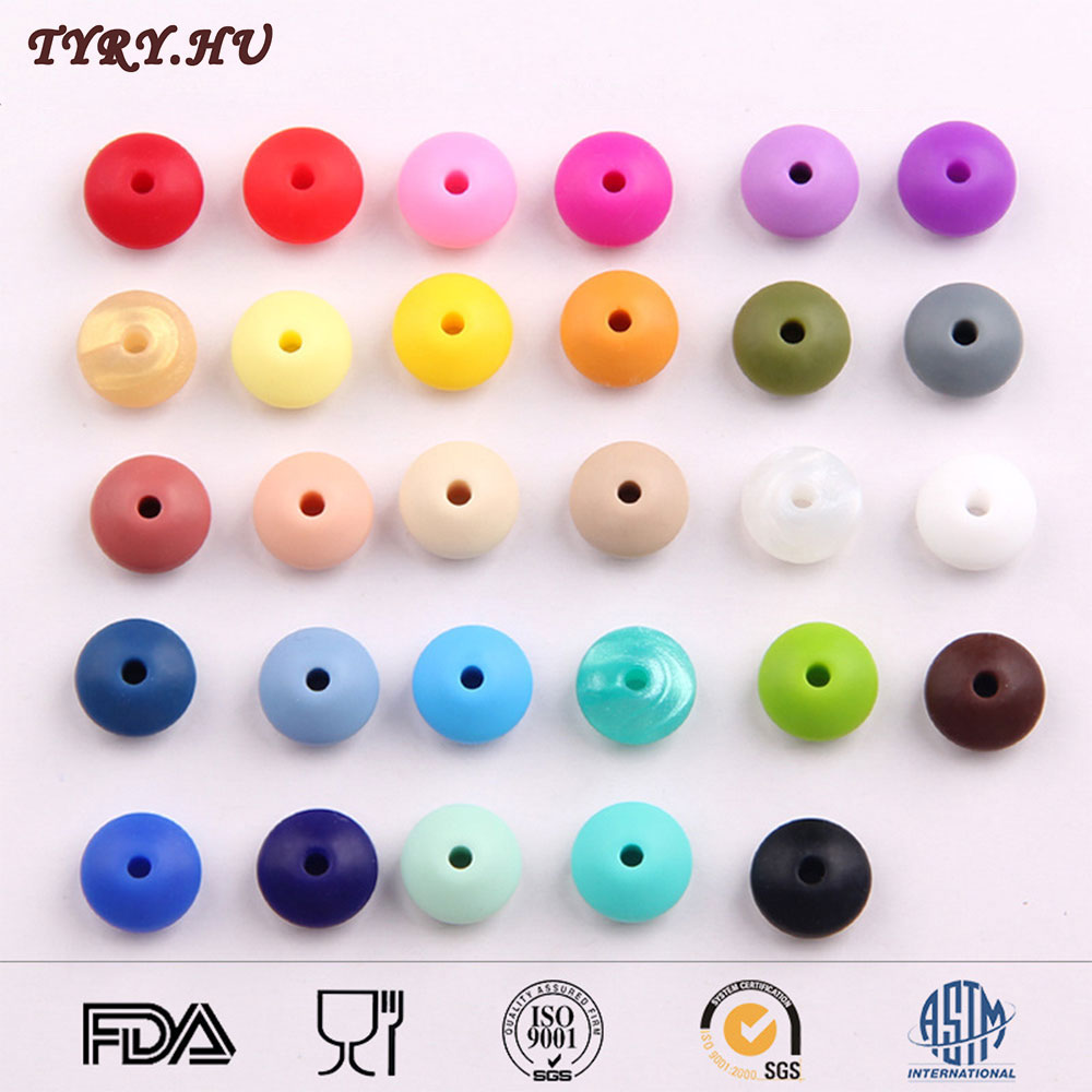 TYRY.HU Silicone Beads Lentil Abacus Beads DIY Teething Necklace BPA Free Food Grade Rubber Loose Beads for Baby Teether Jewelry(China (Mainland))