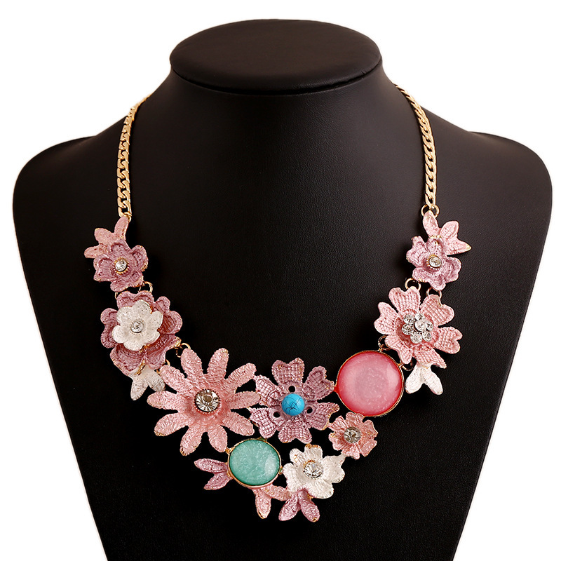 Big Upscale Bohemian Flower Necklace thin Coating of Colored stone Trade Selling Sweet Wind Multicolor Pendant(China (Mainland))