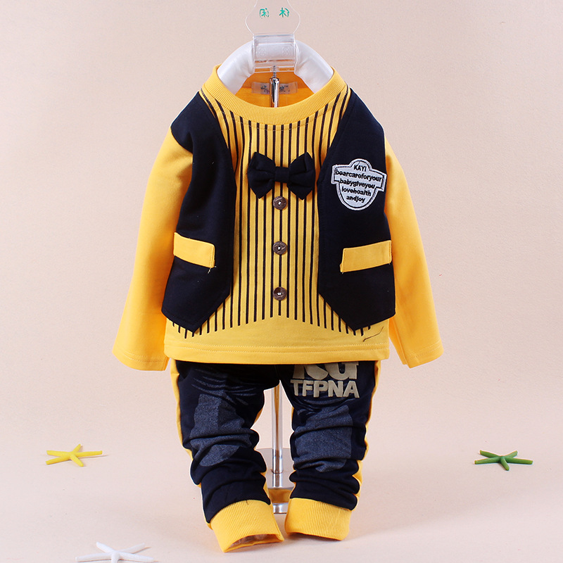 Free shopping cotton Spring 2014 Korean version of the children's leisure clothing sets baby boy suit vest gentleman(China (Mainland))