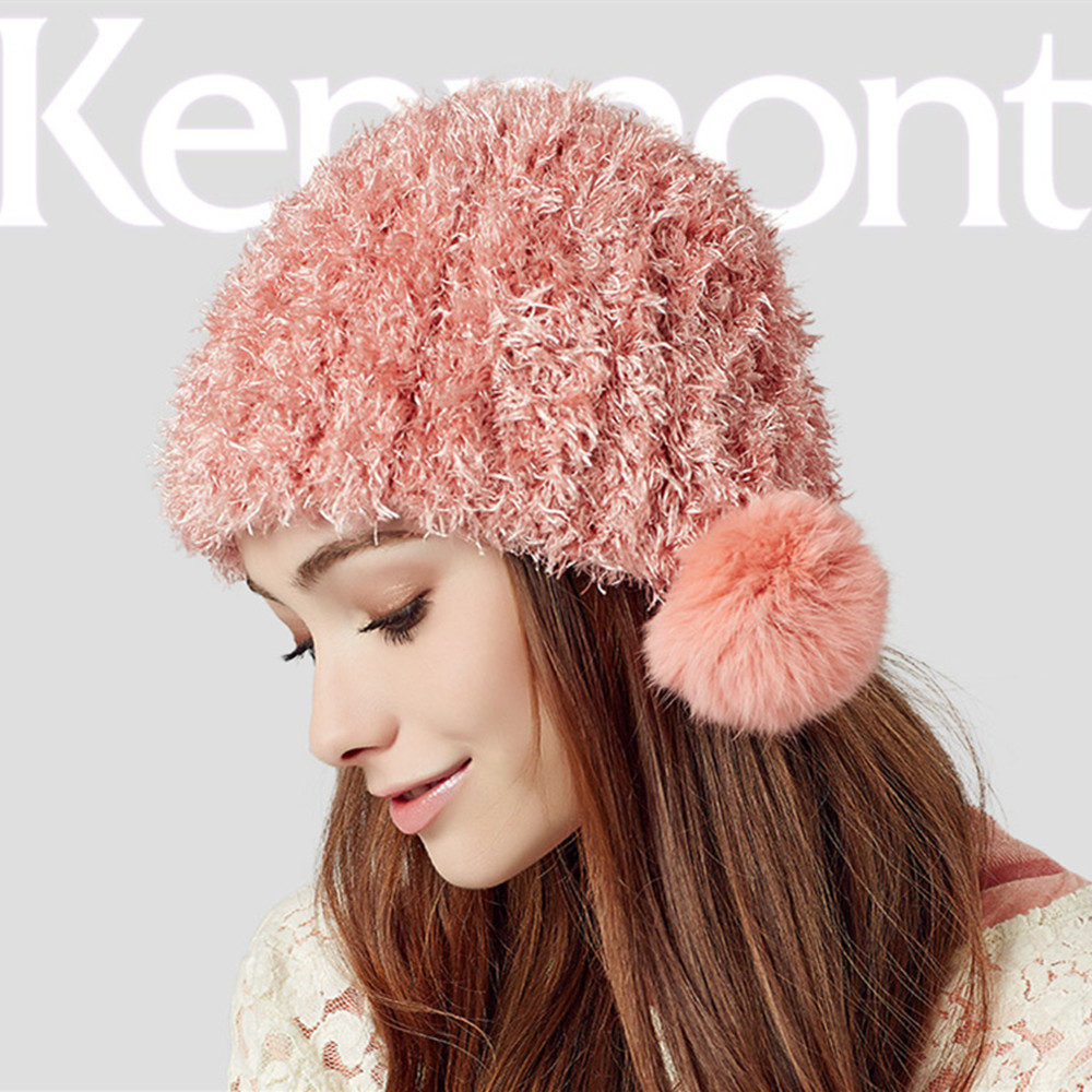 Kenmont Hat Women Beanies Hats Girl Lady Cute Rabbit Hair Ball Hand Knit Autumn Winter Warm Beanie Cap Knitted Caps B-1626 - Price Brand Store store