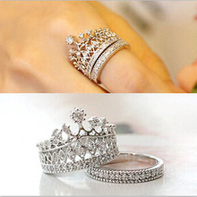 2014 New Fashion Korean Fine Jewelry His Royal Highness The Queen Crystal Rhinestone Crown Ring For Women Free Shipping