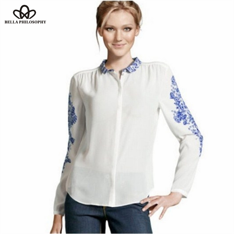 Autumn winter new oriental blue white porcelain floral for White floral shirt womens
