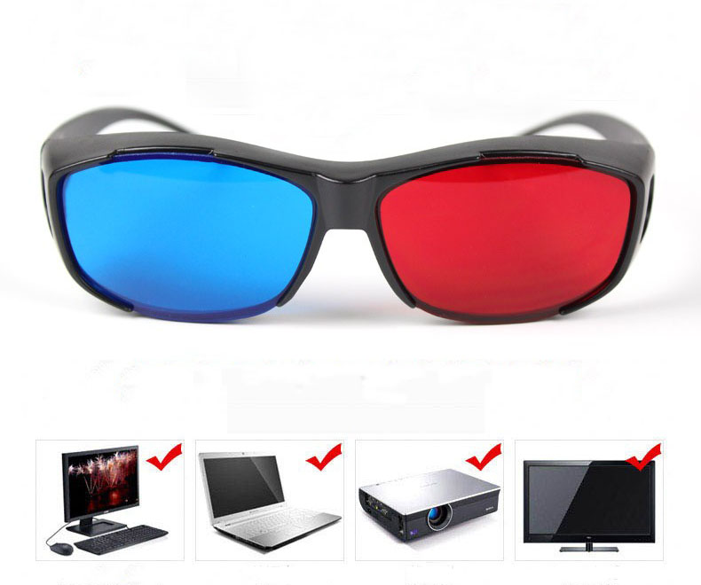 2016 Cool Universal Type 3D Glasses Red Blue Cyan Anaglyph 3D Plastic Glasses TV Movie Video DVD Game Cinema 3D Vision Glasses(China (Mainland))