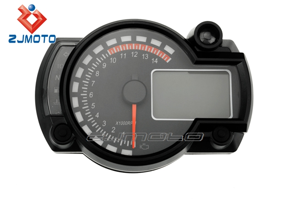 Motorcycle Instrument Panel : Zjmoto universal tachometer motorcycle meter red blue lcd