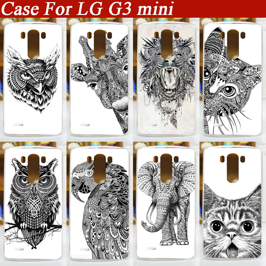 Hot Selling painting white and black animals Hard Plastic Case For LG G3 Mini G3S D722 D725 D728 D724 Case Cover For LG G3 MINI(China (Mainland))