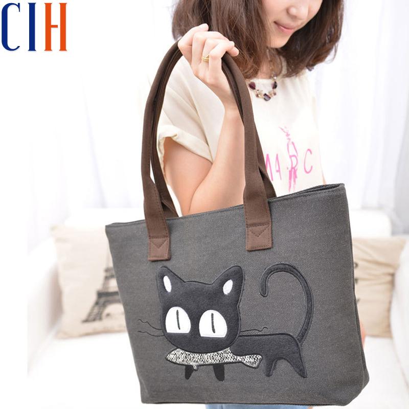 Charm in hands! Wholesale 2015 Cute Model Cartoon Cat Pattern Women Handbag Canvas Bag Fashion Casual Bolsa Feminina LM1549(China (Mainland))