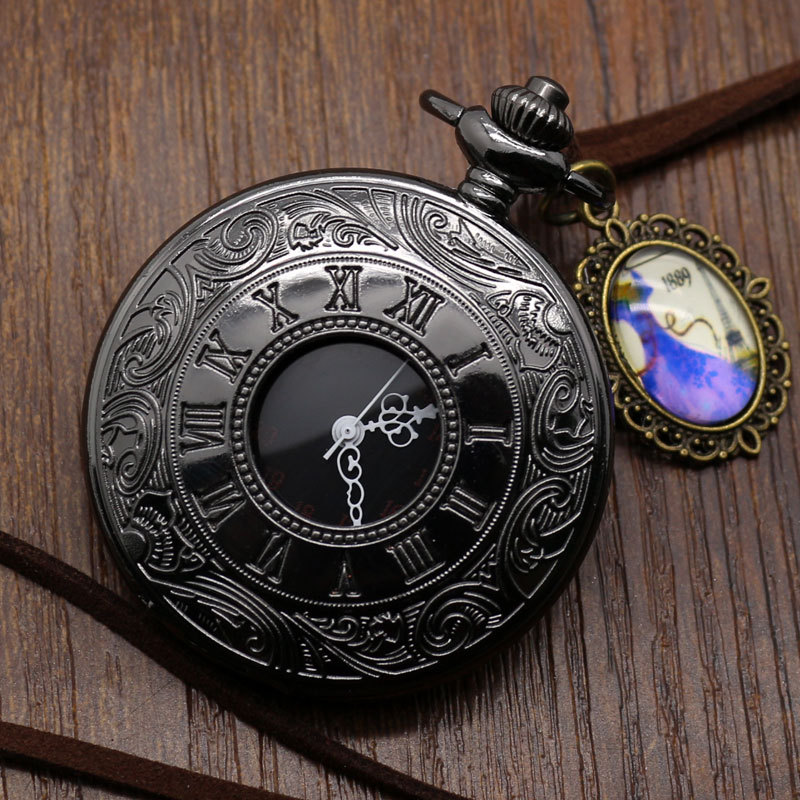 Vintage Antique Silver Roman Numerals Stainless Steel Quartz Pocket Watch Pendant with Chain Unisex Gift Free Shipping(China (Mainland))
