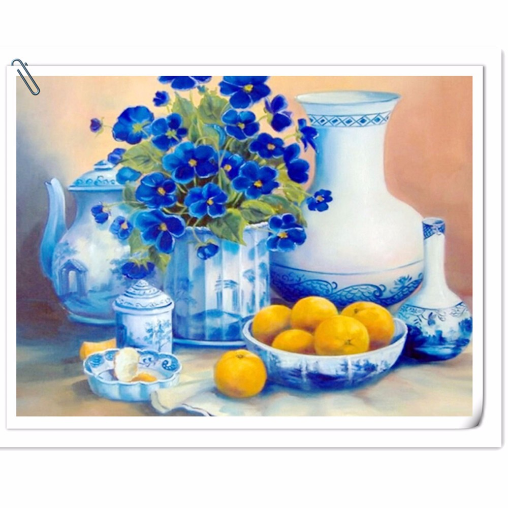 blue flowers, tableware home decoration diamond embroidery  full drill products