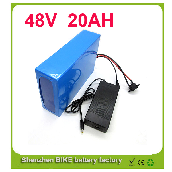 1000time cycle 1000w Electric Bike Lithium Ion Battery 48v 20ah battery lithium 48v bike battery with Pvc case 30A BMS charger(China (Mainland))