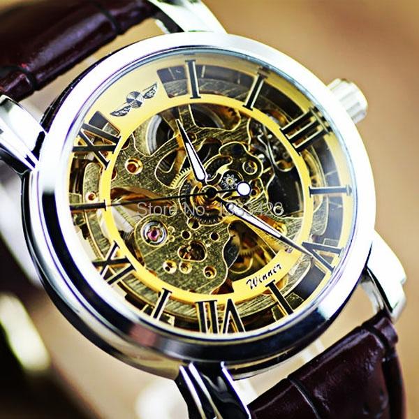 Free shipping New 2014 Winner Roman Arabic Numerals Display Auto Mechanical Men's Wristwatch for man women dress watches(China (Mainland))