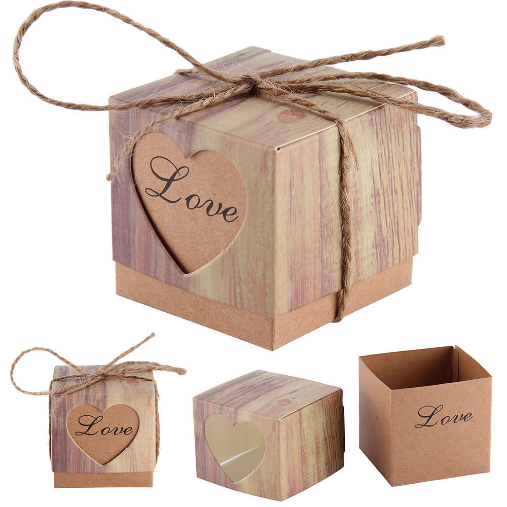 50Pcs Vintage Paper Heart Love Rustic Sweet Laser Cut Candy Gift Boxes Wedding Party Favours Free Shipping(China (Mainland))