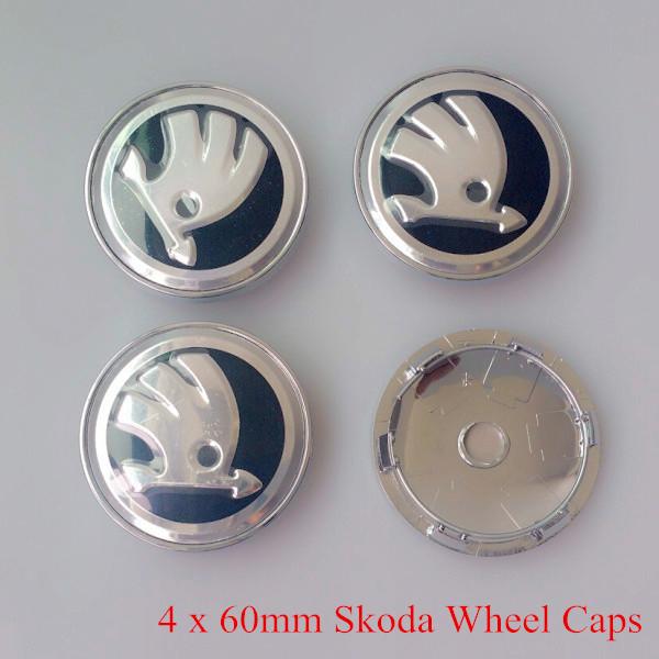 AAA Quality 4 X 60MM Silver Car Wheel Hub Center LOGO Caps Metal Aluminum Emblem Badge For Skoda Octavia Fabia Superb Rapid Yeti(China (Mainland))