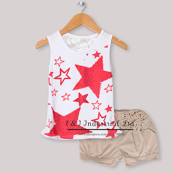 New Fashion Baby Girls Summer Clothing Set Sleeveless Red Star T Shirt And Gray Pands Kids Wear For Children CS30301-43^^EI