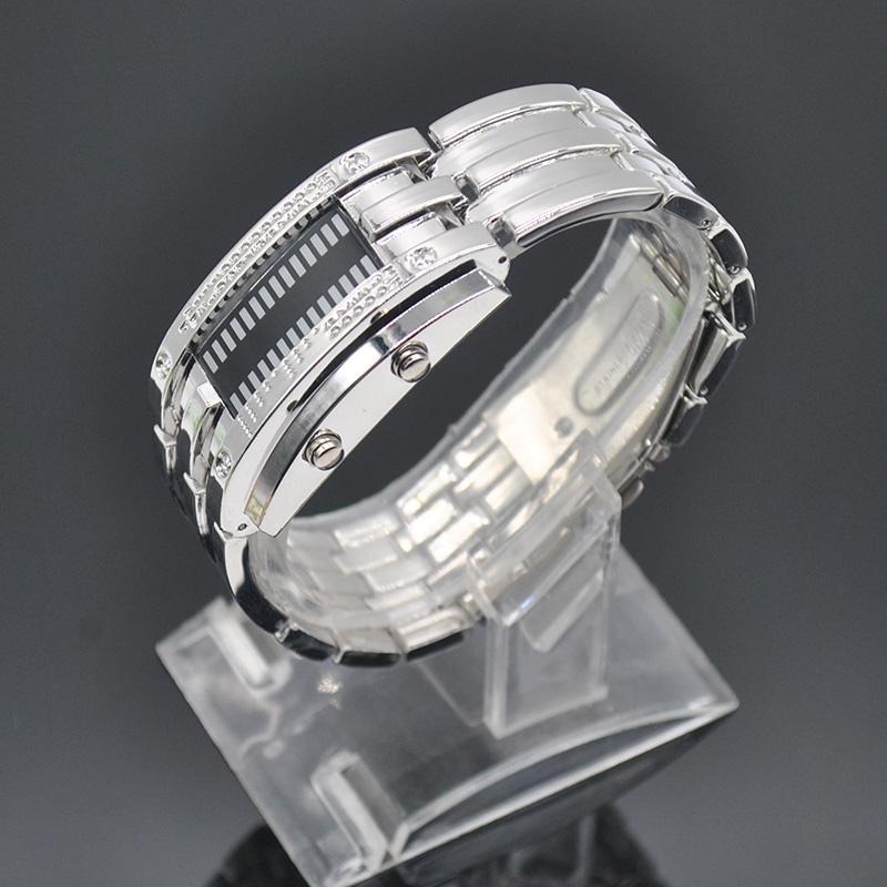 Luxury Brand Waterproof LED Electronic Men Women Stainless Steel Wrist watch Blue Binary led Displayer Luminous